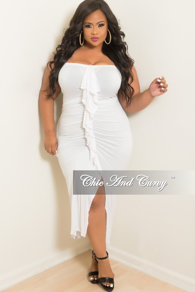 3d22f8eb11d Final Sale Plus Size BodyCon Tube Dress with Center Ruffle and Front S –  Chic And Curvy
