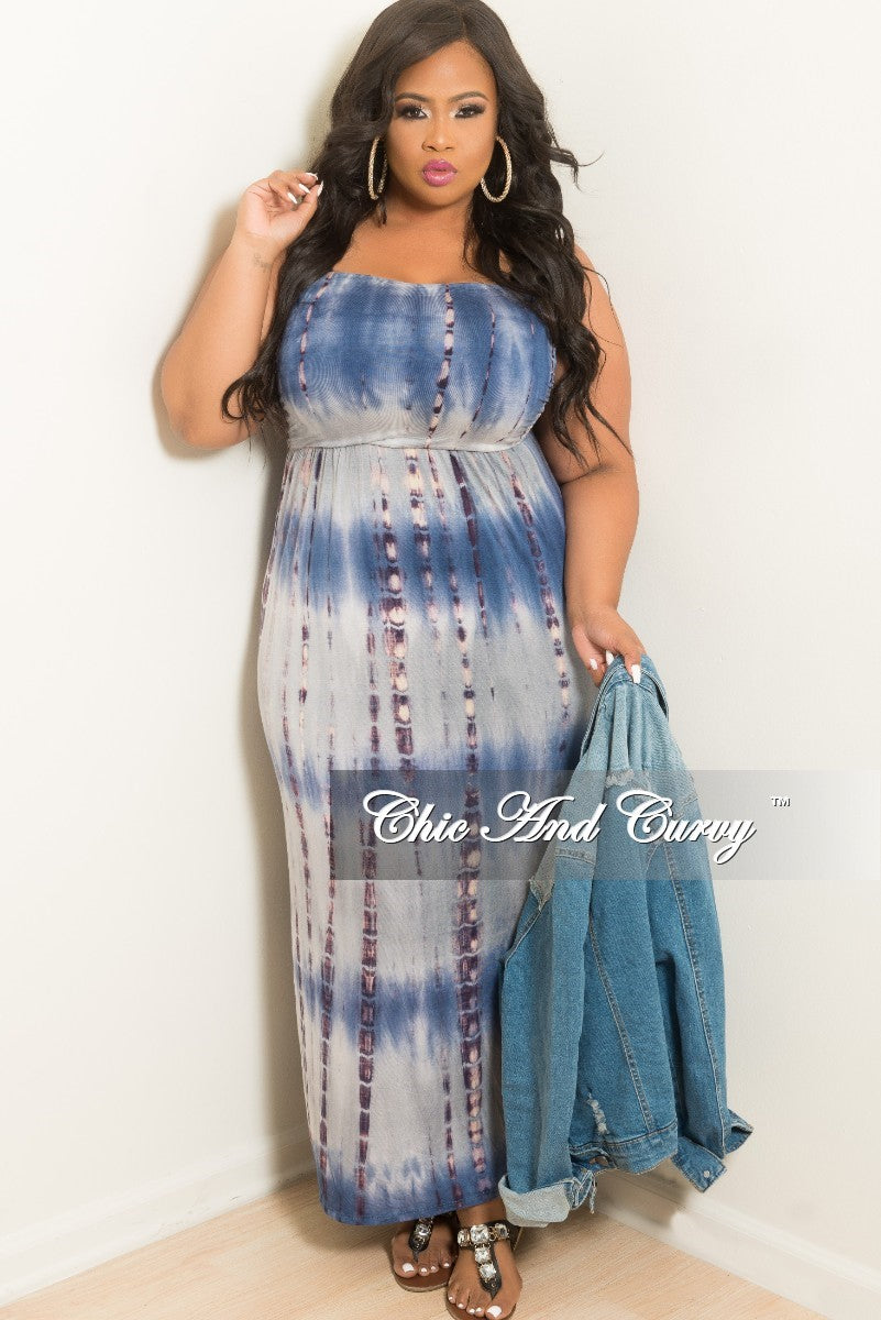 New Plus Size Strapless Long Tube Dress in Navy Tie Dye