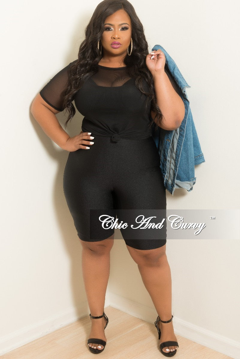 New Plus Size Knee Length Biker Shorts in Black