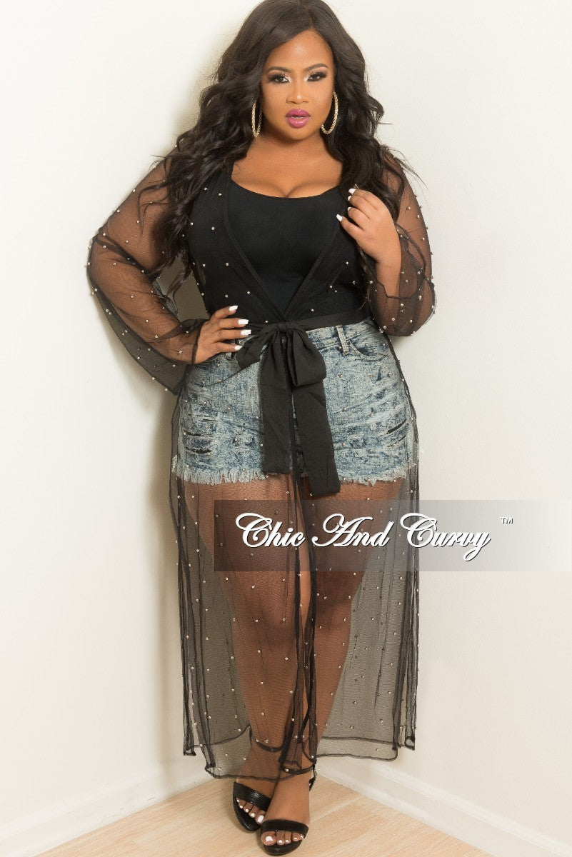 Final Sale Plus Size Mesh Beaded Long Duster with Attached Tie in Black