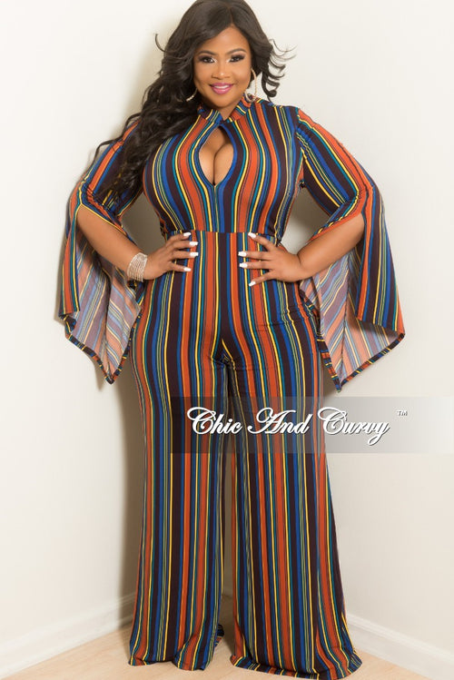 New Plus Size Long Sleeve Jumpsuit with Front Cutout and Slit Sleeves in Royal Blue Rust Yellow and Teal Stripe Print