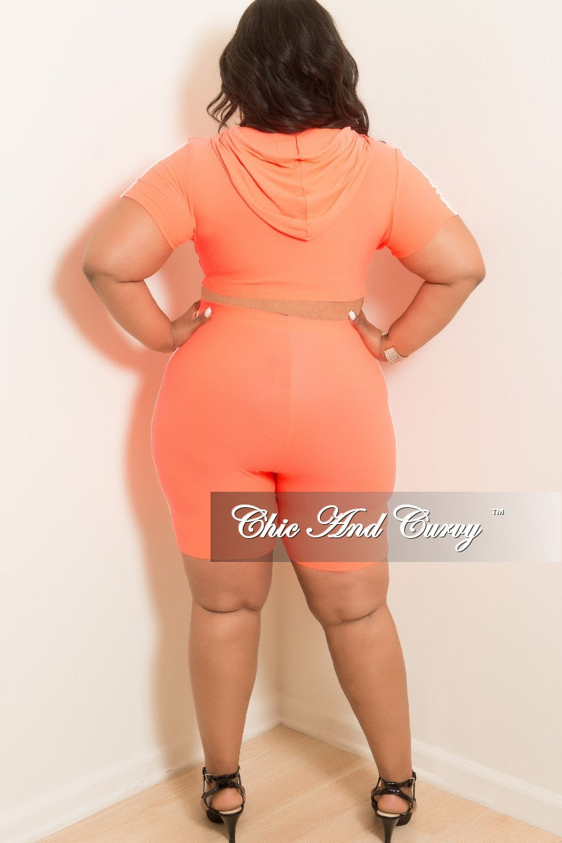Final Sale Plus Size 2-Piece Hooded Crop Top and Short Set in Neon Pink with White Trim