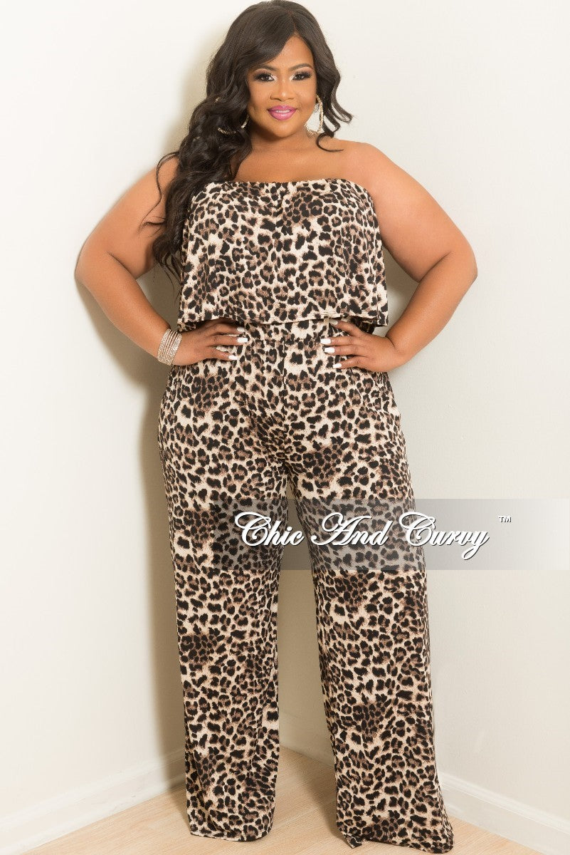 03c039c0eee7 New Plus Size Strapless Ruffle Jumpsuit in Cheetah Print – Chic And Curvy
