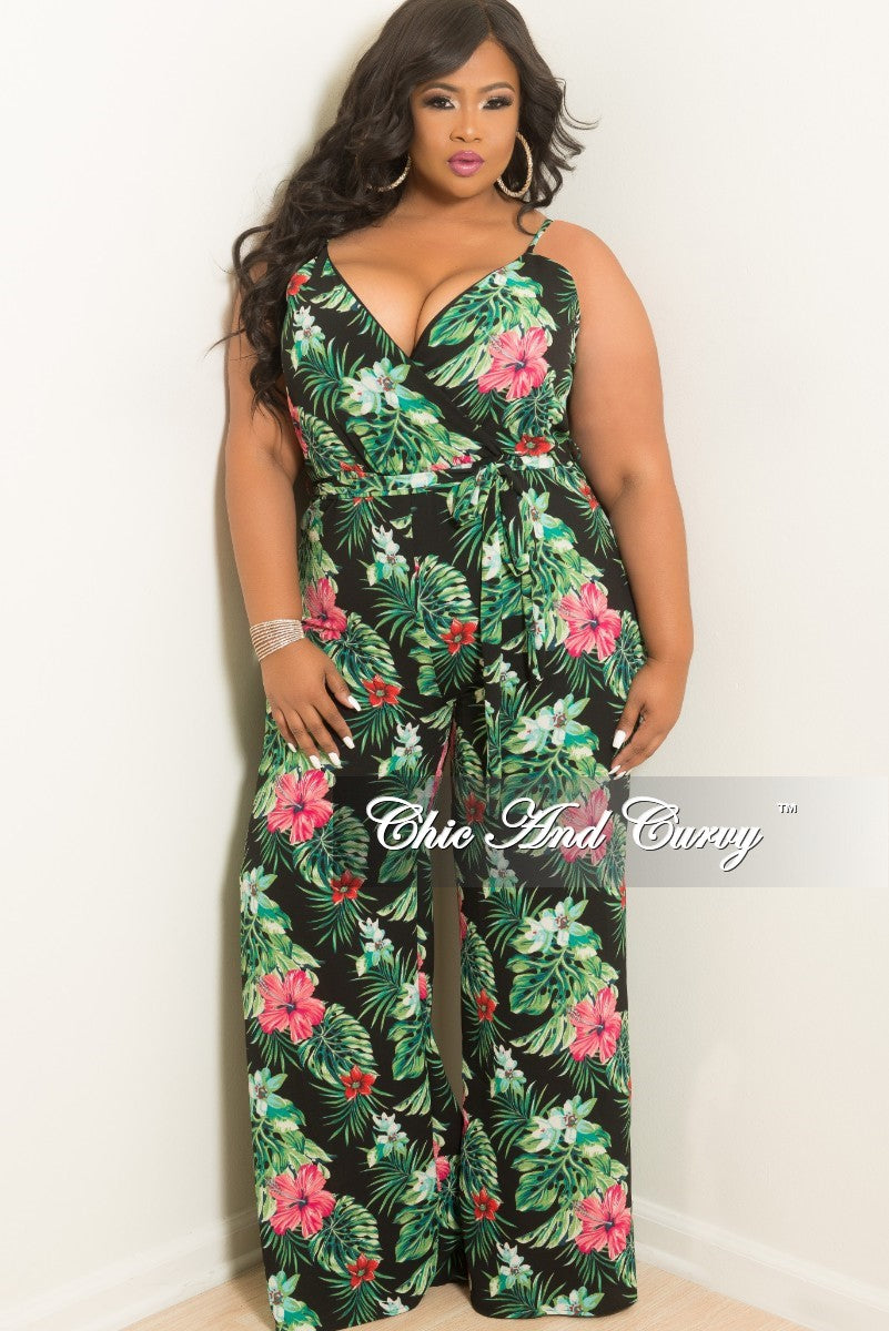 New Plus Size Spaghetti Strap Faux Wrap Jumpsuit with Attached Tie in Black and Green Floral Print
