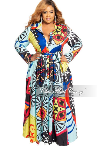 New Plus Size Faux Wrap Maxi with Attached Tie and Front Slit in Multi Color Stripe Print