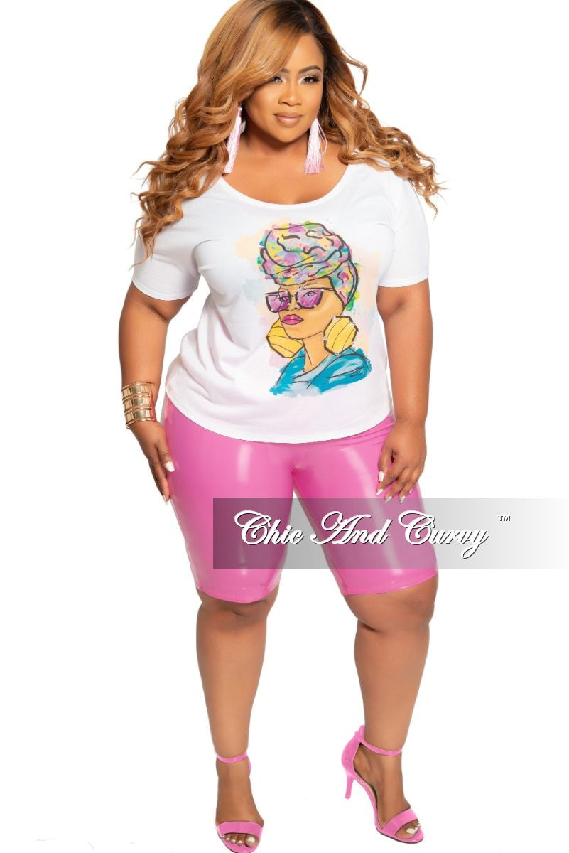 Final Sale Plus Size Short Sleeve Goddess Printed Top with Crystal Trimmed Shades in White Multi Color