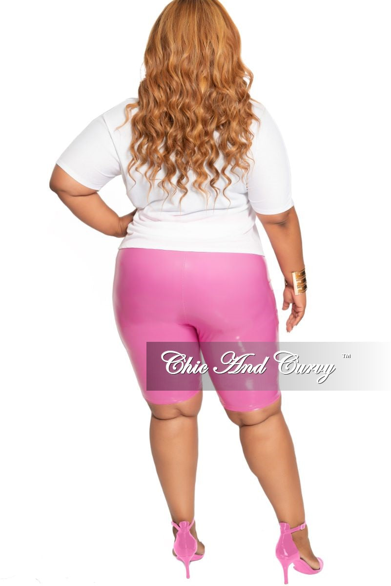 Final Sale Size Plus Patent-Leather Bermuda Shorts in Pink