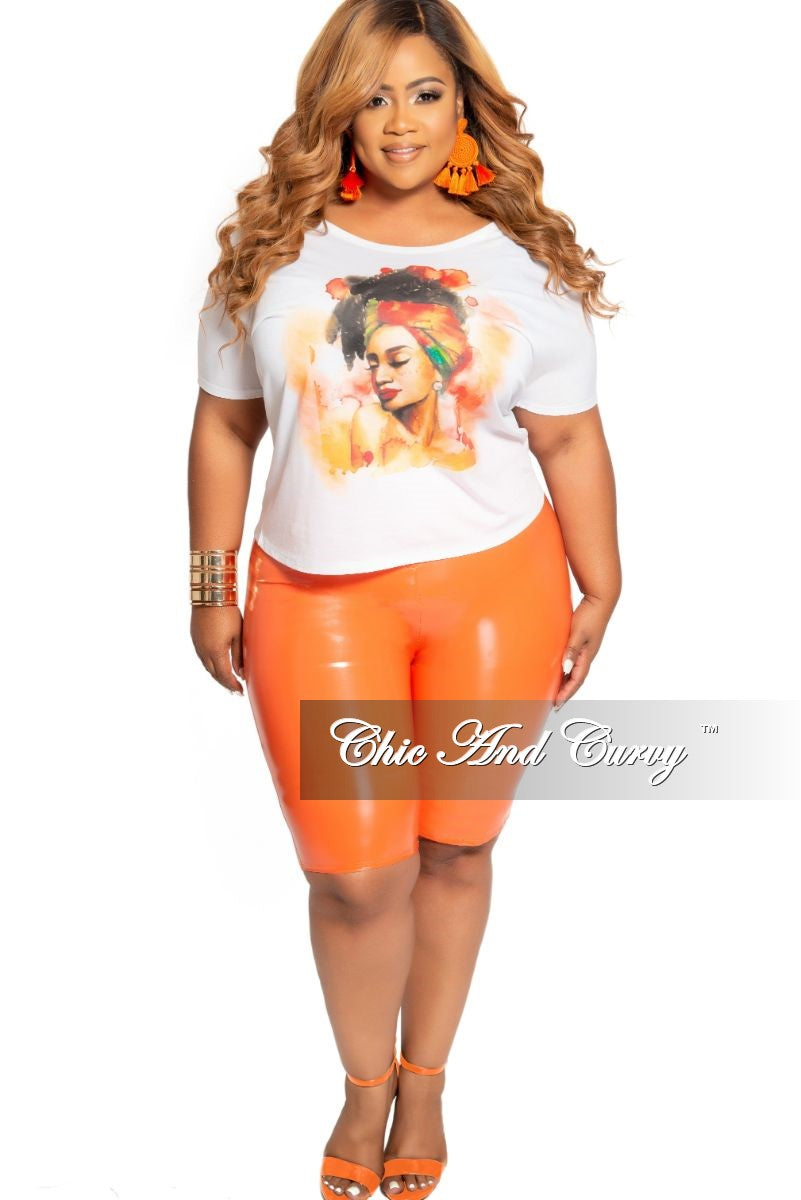 Final Sale Size Plus Patent-Leather Bermuda Shorts in Orange