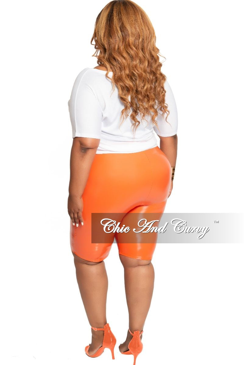 Final Sale Size Plus Patent-Leather Bermuda Short in Orange