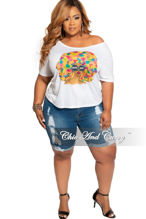 Final Sale Plus Size Mid-Rise Distressed Bermuda Shorts in Denim