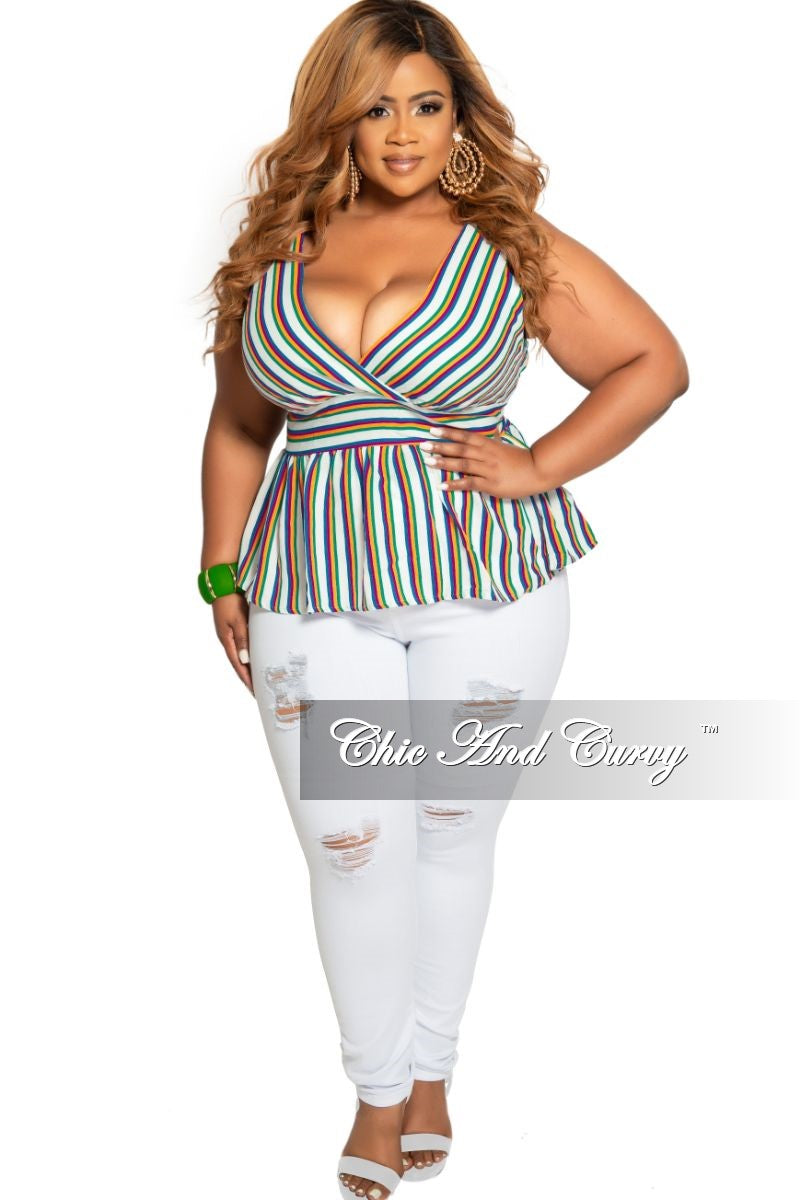 Final Sale Plus Size Sleeveless Faux Wrap Plum Tie Top in Multi Color Stripe Print