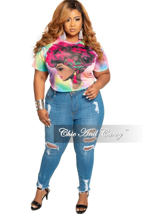 Final Sale Plus Size Afrocentric Top in Fuchsia Multi Color