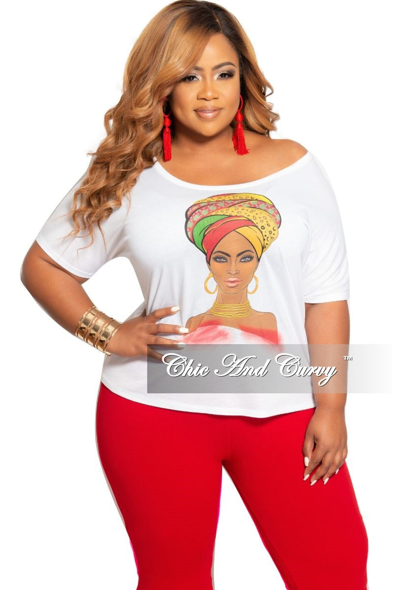 Final Sale Plus Size Short Sleeve Nubian Queen Printed Top White Multi Color