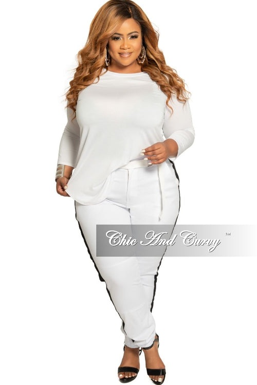 Final Sale Plus Size Round Neck Top with 3/4 Sleeves in White