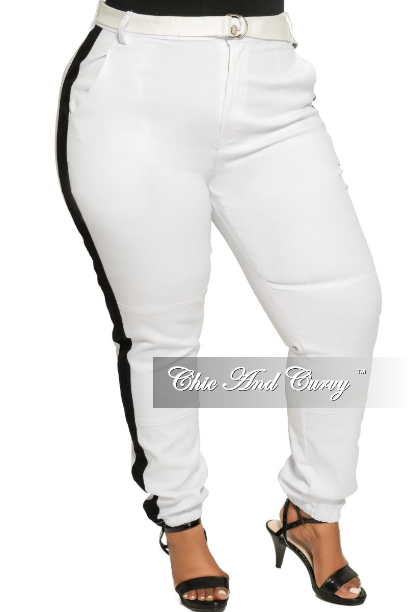 Final Sale Plus Size Pants in White with Black Trim