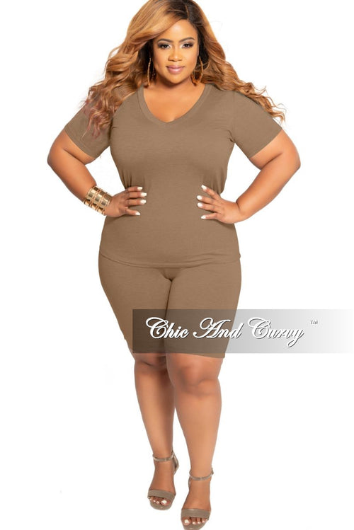 Final Sale Plus Size 2-Piece V-Neck T-Shirt and Bermuda Short Set in Taupe