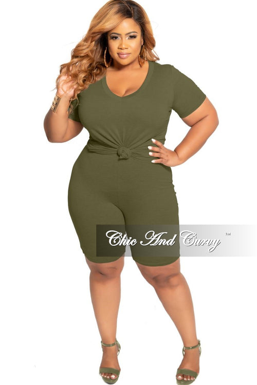 Final Sale Plus Size 2-Piece V-Neck T-Shirt and Bermuda Short Set in Olive
