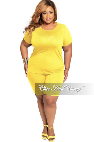 New Plus Size 2-Piece (Hooded Top and Short) Set in Mustard & Green Tie Dye