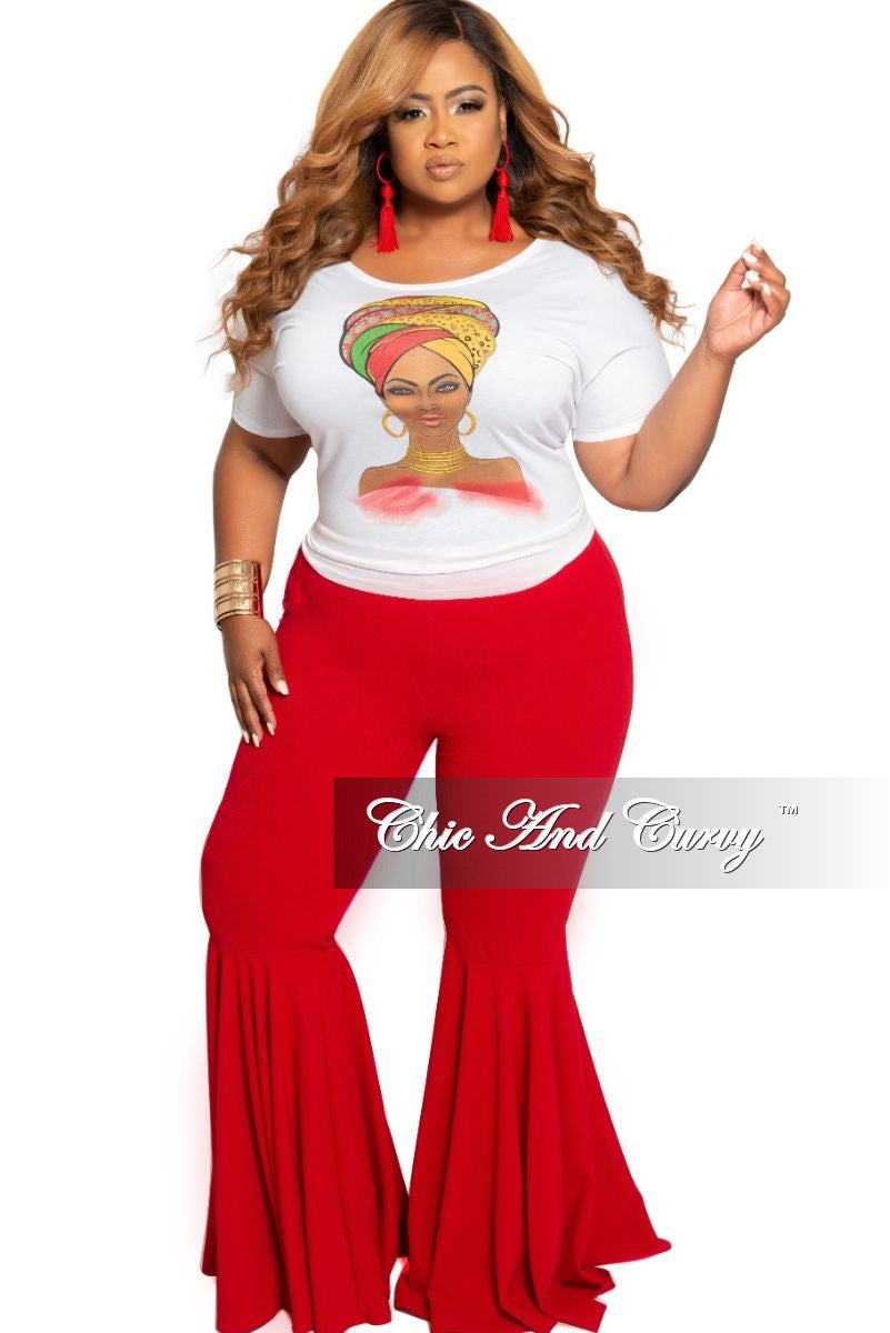 New Plus Size High Waist Bell Bottom Pants in Red