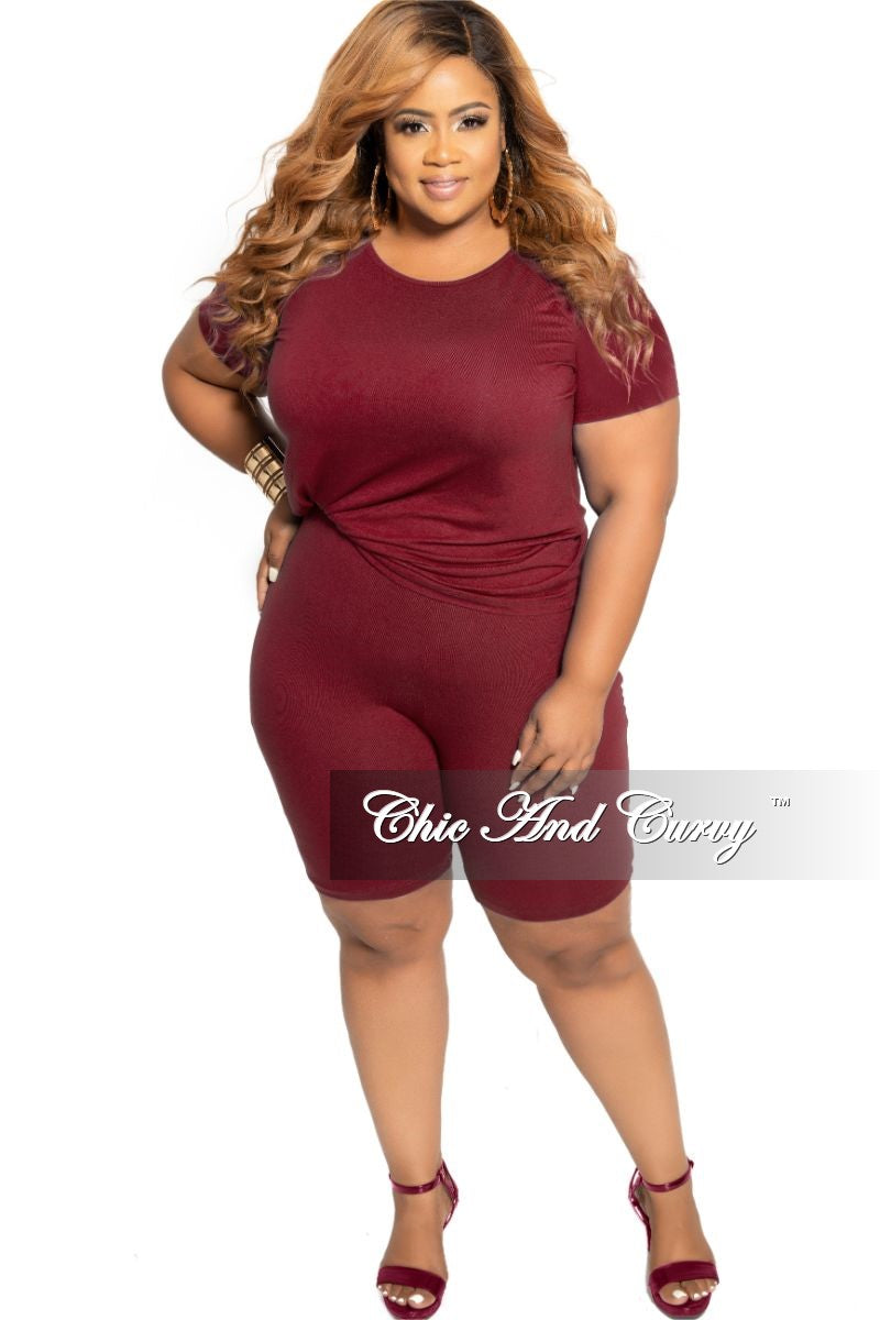 Final Sale Plus Size 2-Piece Round Neck T-Shirt and Bermuda Short Set in Burgundy