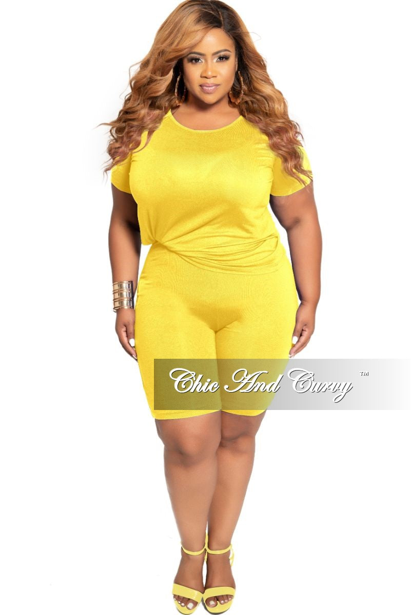 Final Sale Plus Size 2-Piece Round Neck T-Shirt and Bermuda Short Set in Yellow