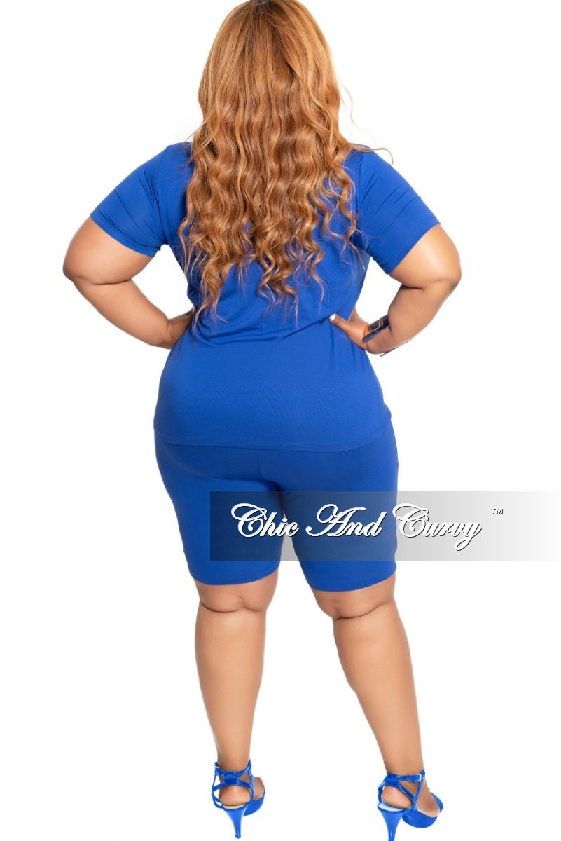 Final Sale Plus Size 2-Piece Round Neck T-Shirt and Bermuda Short Set in Royal Blue