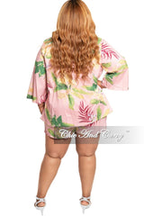 Final Sale Plus Size 2-Piece Short Set With Matching Coat in Pink Floral Print