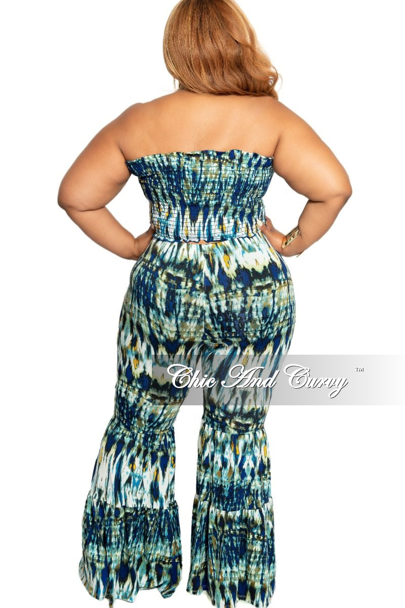 Final Sale Plus Size 2-Piece Sleeveless Crop Top and Bell Bottom Pants Set in Royal Blue White Mustard and Olive Abstract Print