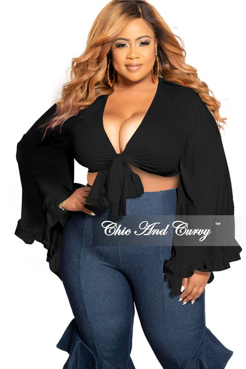 Final Sale Plus Size Crop Tie Top with Bell Sleeves in Black