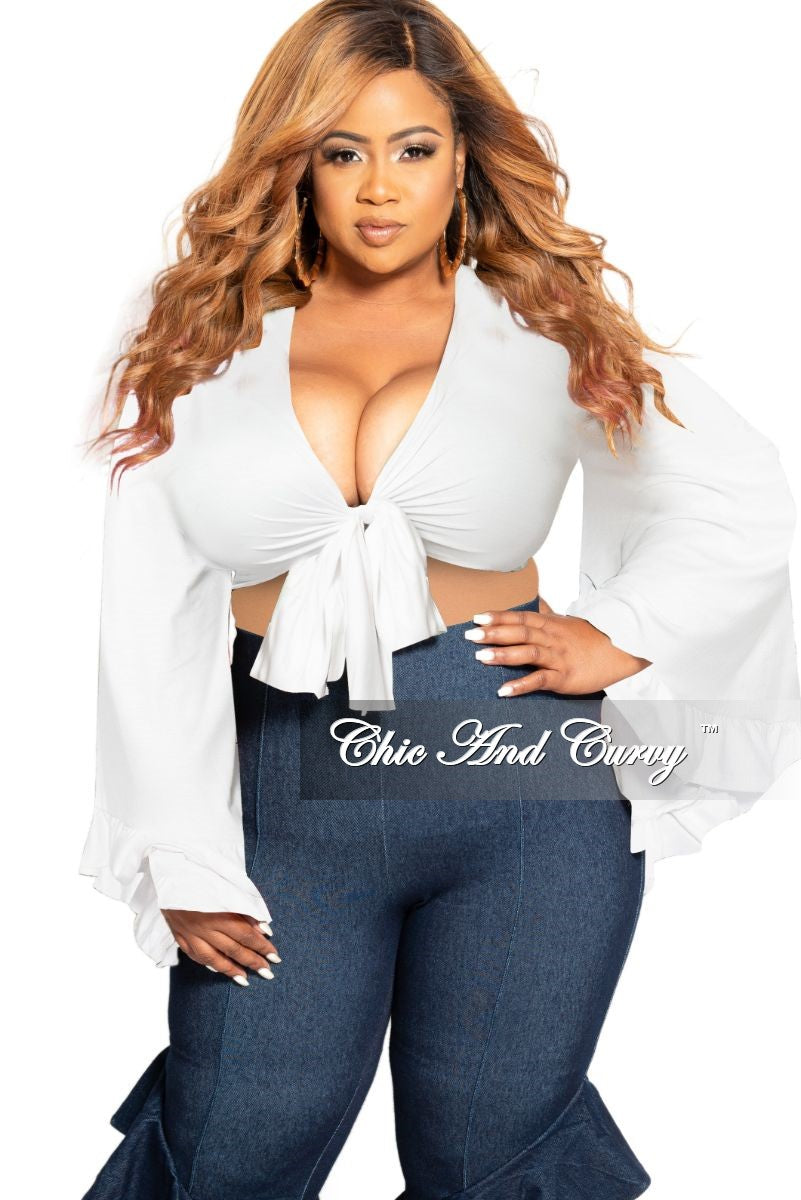 Final Sale Plus Size Crop Tie Top with Bell Sleeves in White