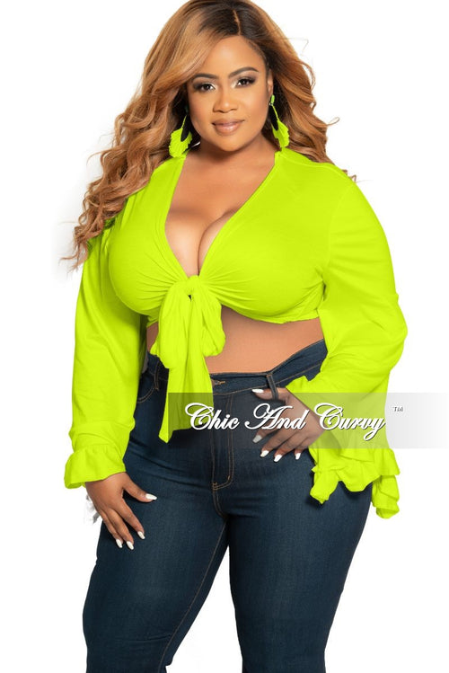 Final Sale Plus Size Crop Tie Top with Bell Sleeves in Neon Yellow