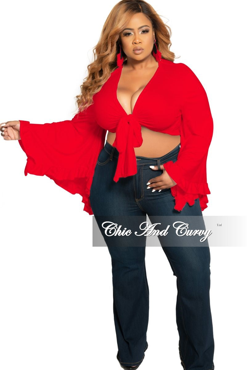 Final Sale Plus Size Crop Tie Top with Bell Sleeves in Red