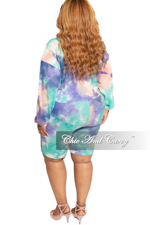 Final Sale Plus Size 2-Piece Midriff Top and Bermuda Short Set in Lavender Coral and Mint Tie Dye Waffle Print