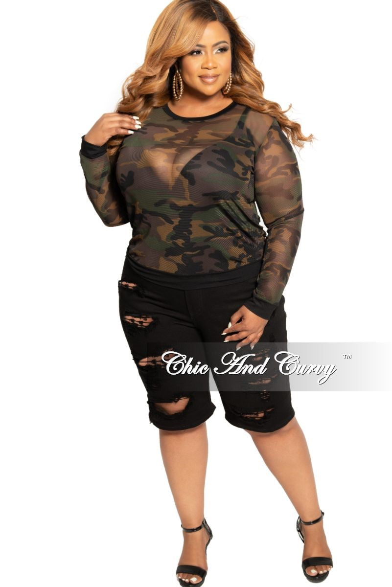 Final Sale Plus Size Distressed Bermuda Shorts in Black