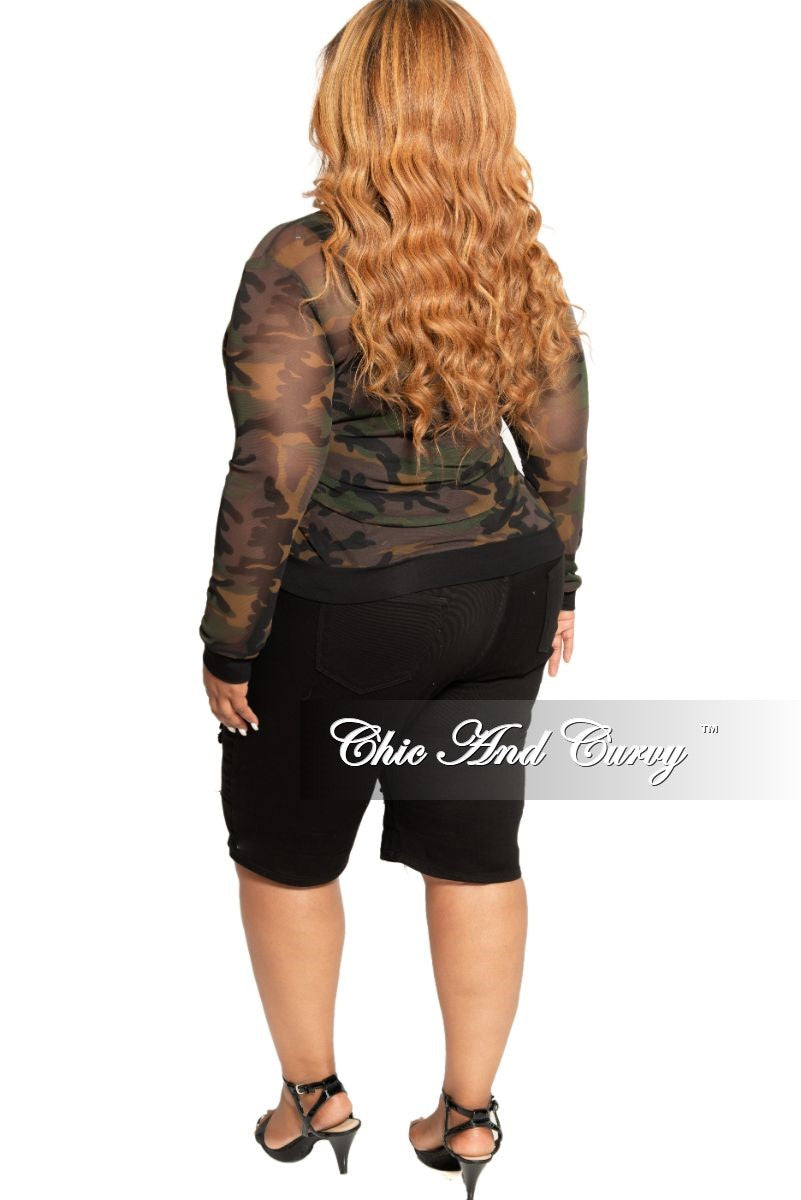 Final Sale Plus Size Sheer Mesh Top in Camouflage Print