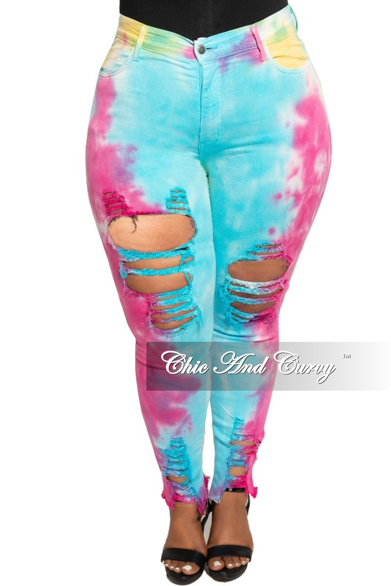 Final Sale Plus Size High Waist Distressed Jeans in Aqua and Fuchsia Tie Dye Print