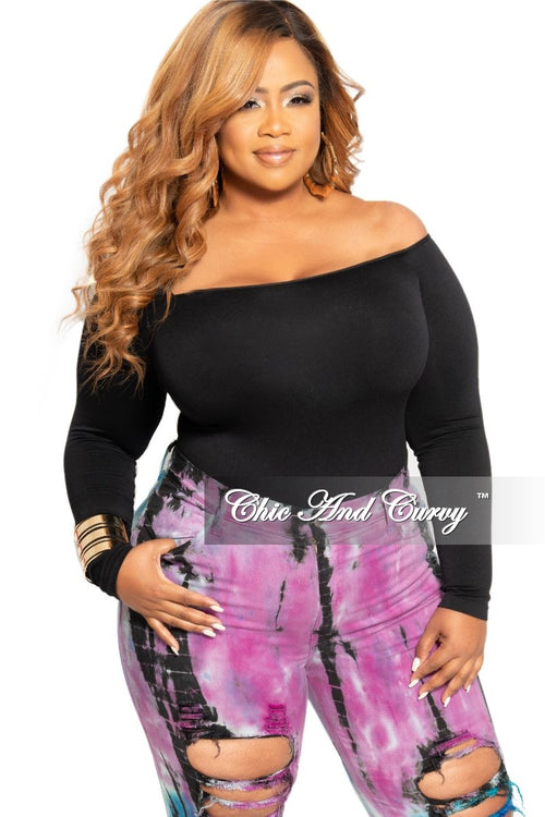 Final Sale Plus Size Long Sleeve Off the Shoulder Bodysuit in Black