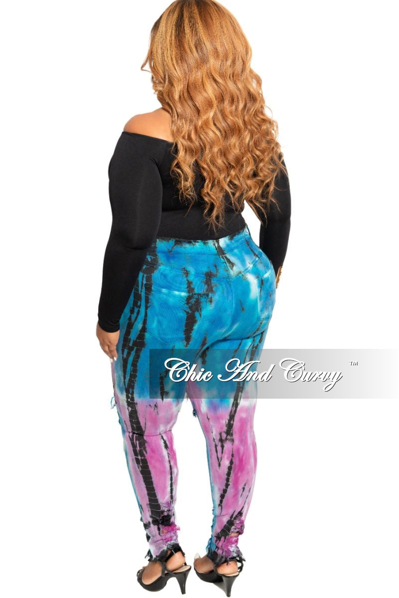 Final Sale Plus Size High Waist Distressed Jeans in Lavender Blue and Black Tie Dye Print