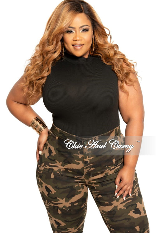 Final Sale Plus Size Sleeveless Ribbed Mock Neck Bodysuit in Black