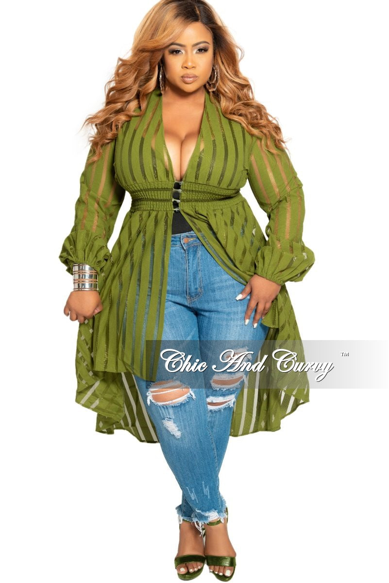 Final Sale Plus Size Sheer High-Low Duster with Front Buttons in Olive