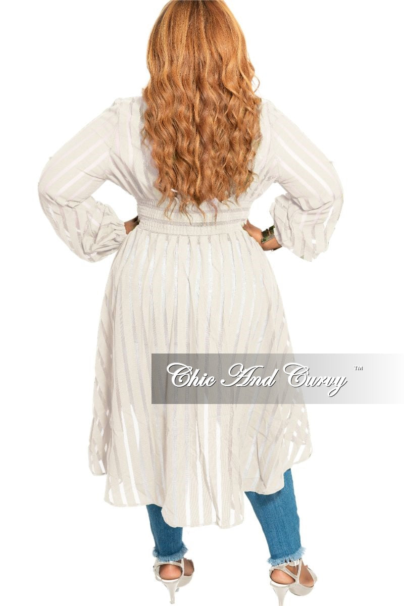 Final Sale Plus Size Sheer High-Low Duster with Front Buttons in Ivory