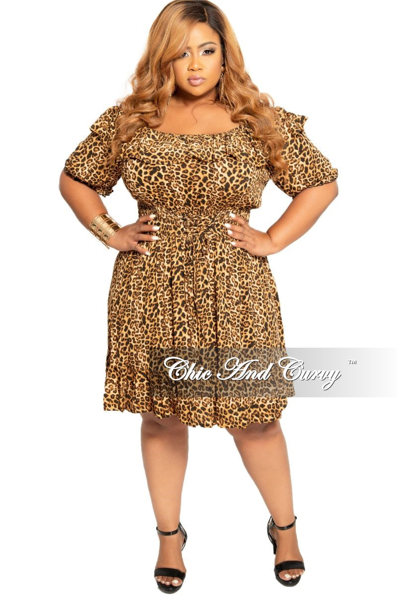New Plus Size Off the Shoulder Dress with Corset Waist in Leopard Print