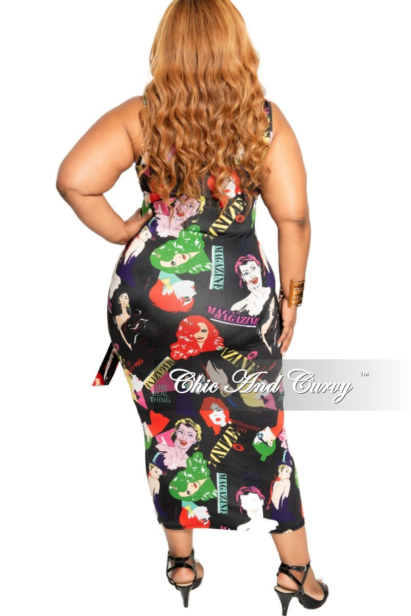 New Plus Size Sleeveless Midi BodyCon Dress with Attached Tie in Black Multi Color Cartoon Print