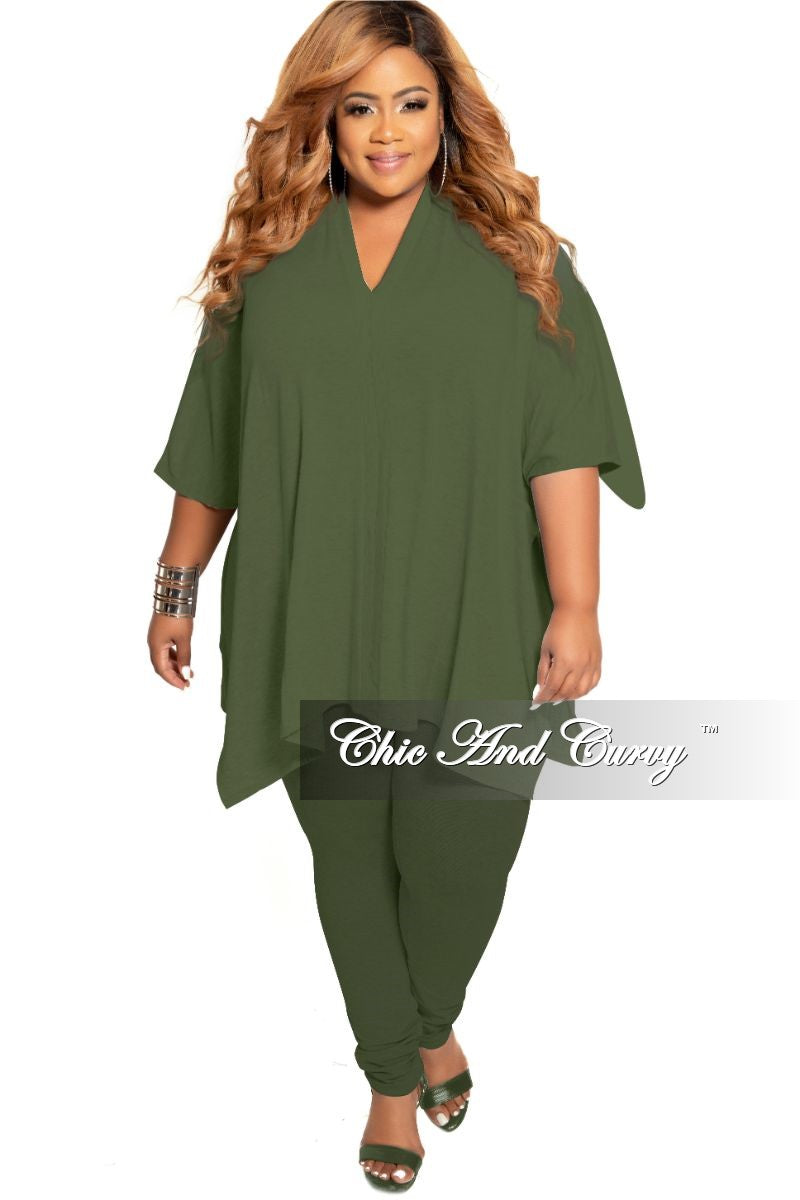 New Plus Size 2-Piece V-Neck Tunic Top and Matching Legging Set in Olive