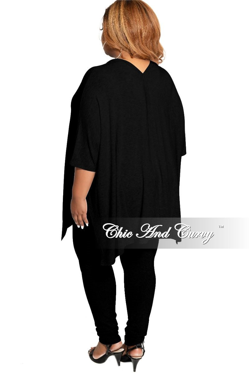 New Plus Size 2-Piece V-Neck Tunic Top and Matching Legging Set in Black