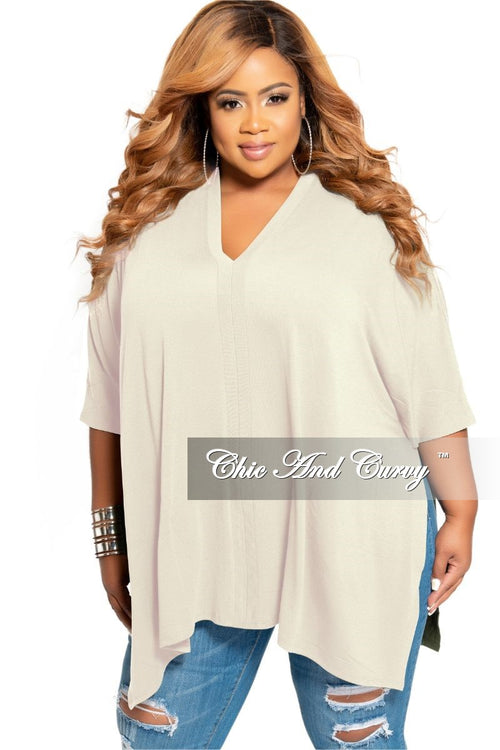 Final Sale Plus Size V-Neck Tunic Top Only in Ivory