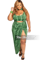 Final Sale Plus Size 2-Piece Set Poolside Playsuit with Cutout Front Bodysuit & High Split Skirt in Green Snake Print
