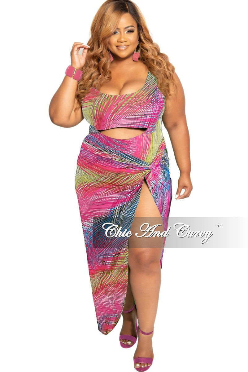 Final Sale Plus Size 2-Piece Set Poolside Playsuit with Cutout Front Bodysuit & High Split Skirt in Pink Yellow Royal Blue Multi Stripe Print