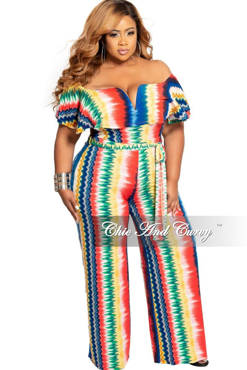 Final Sale Plus Size Deep V Ruffle Jumpsuit in Multi Color Print
