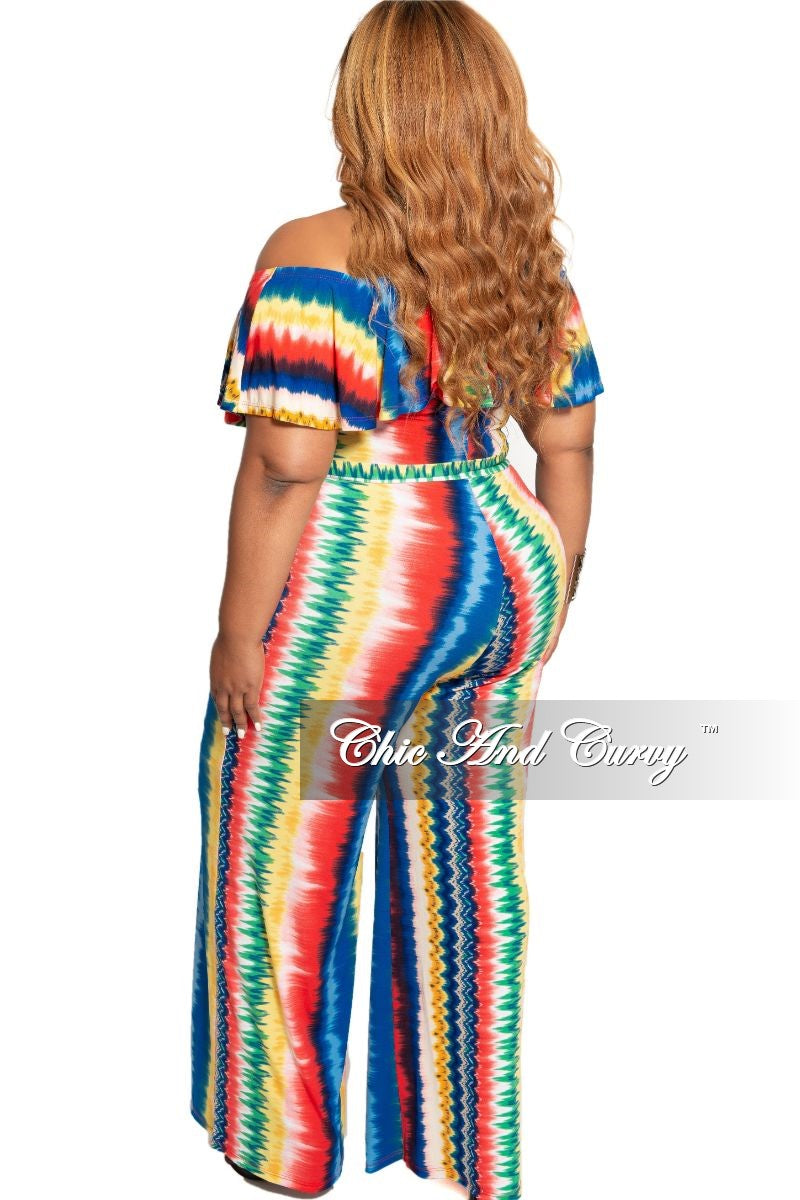 New Plus Size Deep V Ruffle Jumpsuit in Multi Color Print
